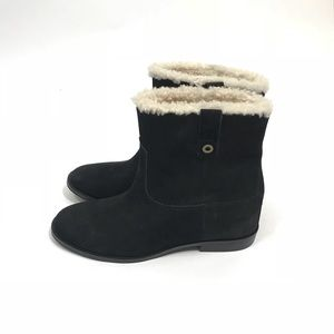 Cole Haan Zillie WP Wedge Black Sherling Boots 9.5